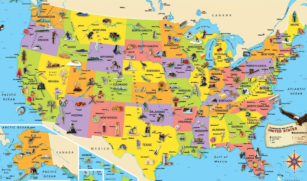 Tourist map of USA | geography | Pinterest | United states map, Us ...