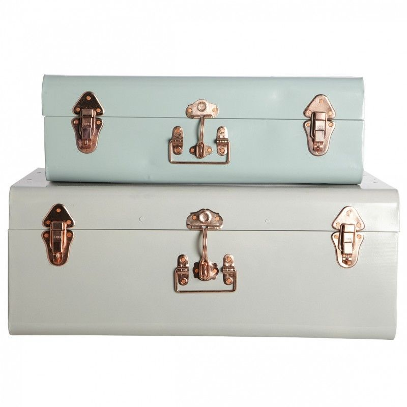 Green And Pale Grey Metal Storage Trunks Copper Detail