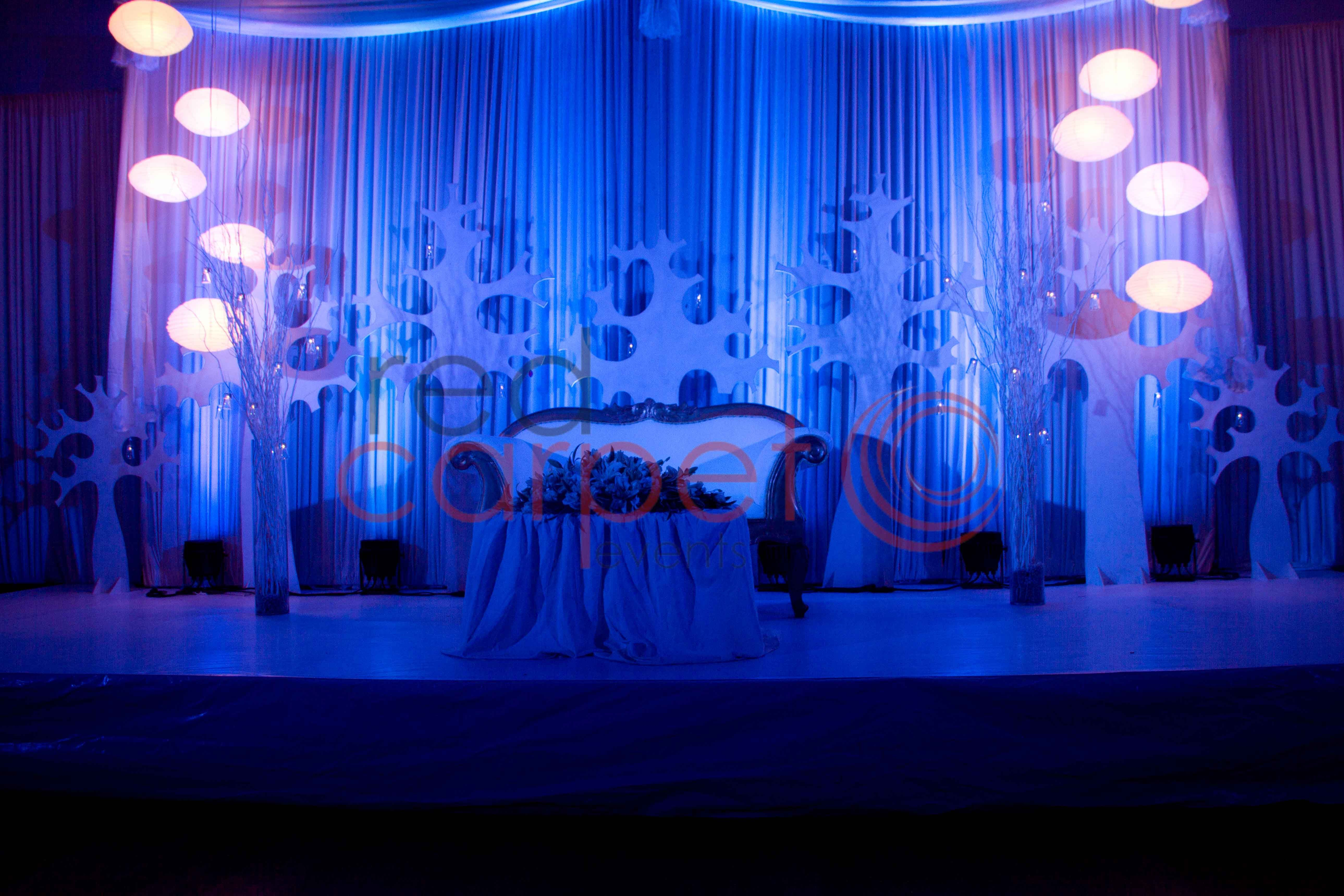 blue & white wedding reception stage | red carpet events - wedding