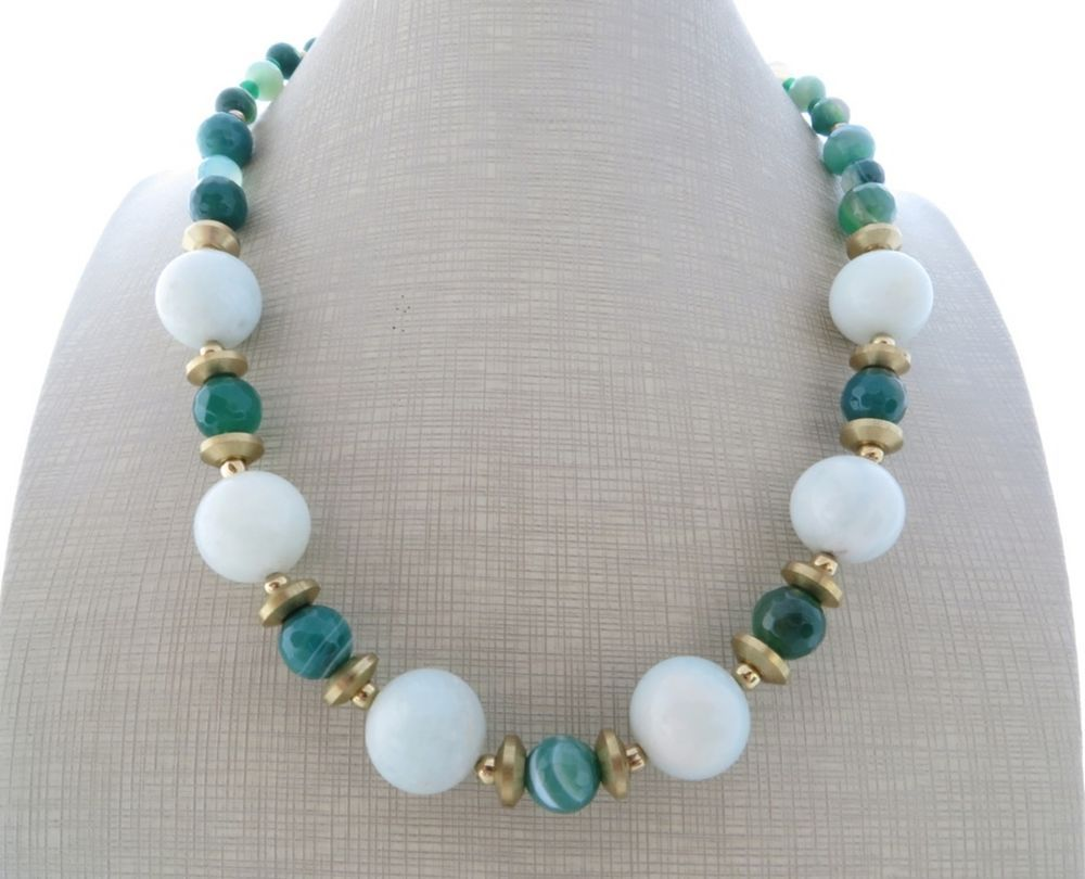 Collana amazzonite e agata verde, girocollo pietre dure, gioielli artigianali