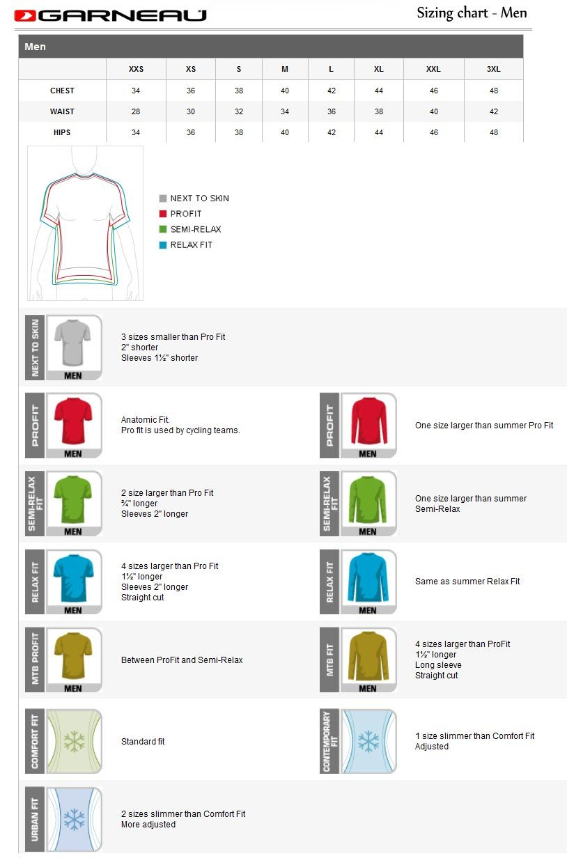 Louis Garneau Cycling Size Chart For Men S Cycling Jerseys Size