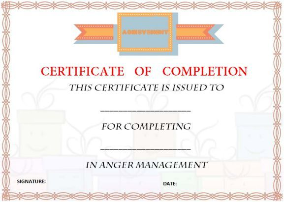 photo about Printable Anger Management Certificate named no cost_anger_control_certification_of_completion_template