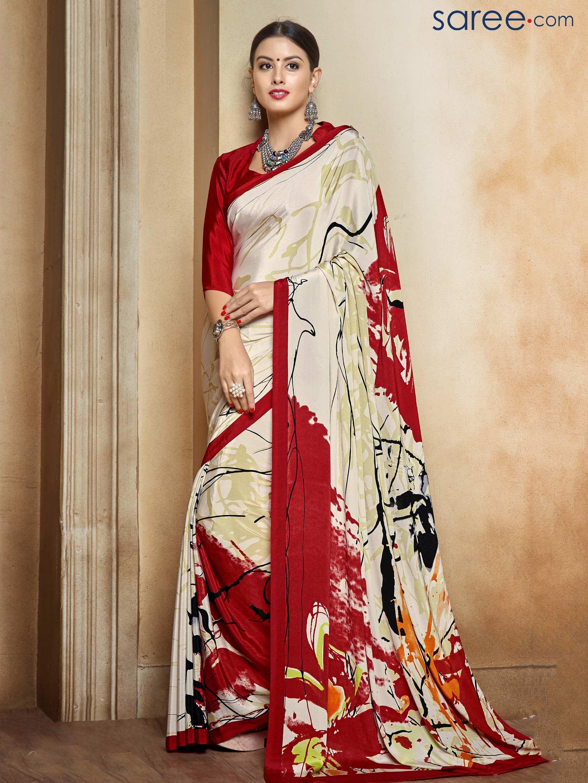8a0a86f5f3 WHITE AND MAROON CREPE PRINTED SAREE | Indian Sarees & Sari | Crepe ...