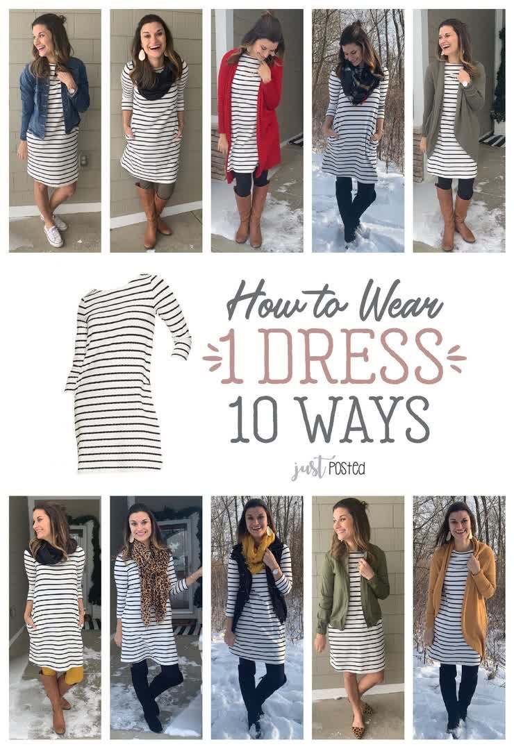 Fashion Look Featuring By Justposted Shopstyle White Striped Dress Outfit Striped Dress Outfit Long Sleeve Knit Dress [ 1079 x 740 Pixel ]