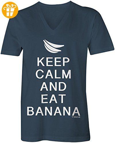 KEEP CALM and eat Banana ☆ V-Neck T-Shirt Männer-Herren ☆
