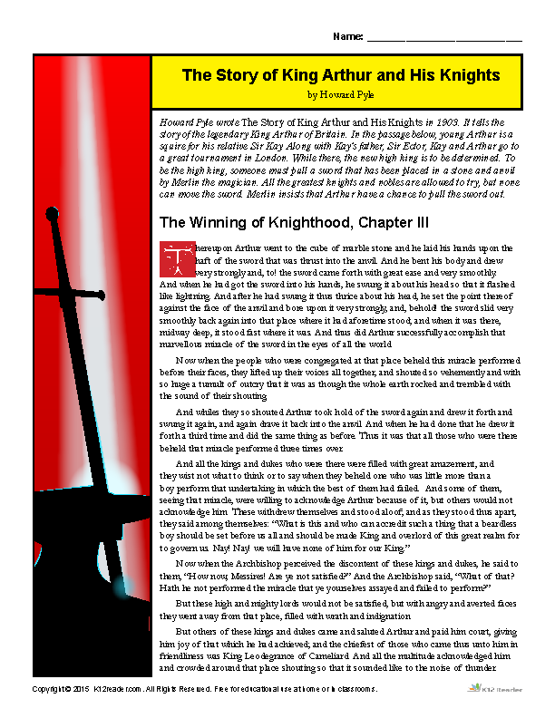 The Story Of King Arthur And His Knights Reading Worksheets Teaching Literature Writing Skills Reading Comprehension Activities