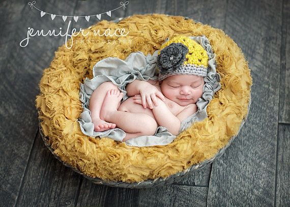 Items similar to newborn baby girl hat newborn crochet beanie mustard yellow hat grey flower photography prop baby girls on etsy
