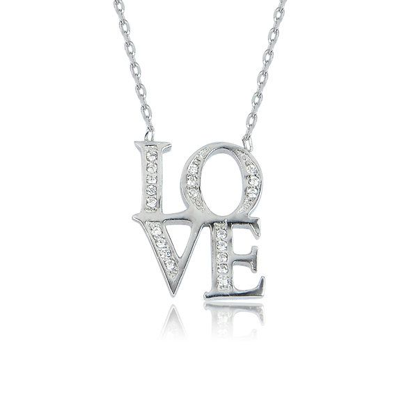 Holiday Sale love necklace sterling silver love by LuckyCharmsUSA