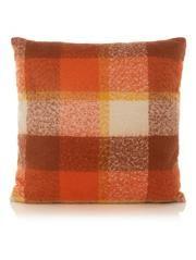 George Home Large Orange Check Cushion 58x58cm