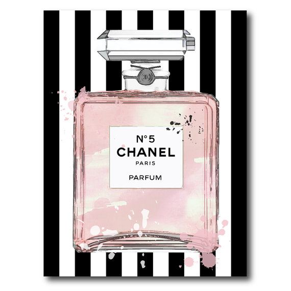 c0a3f3a8515 Chanel No 5 No5 No.5 Pink Perfume Bottle with by PrintArtworks ...