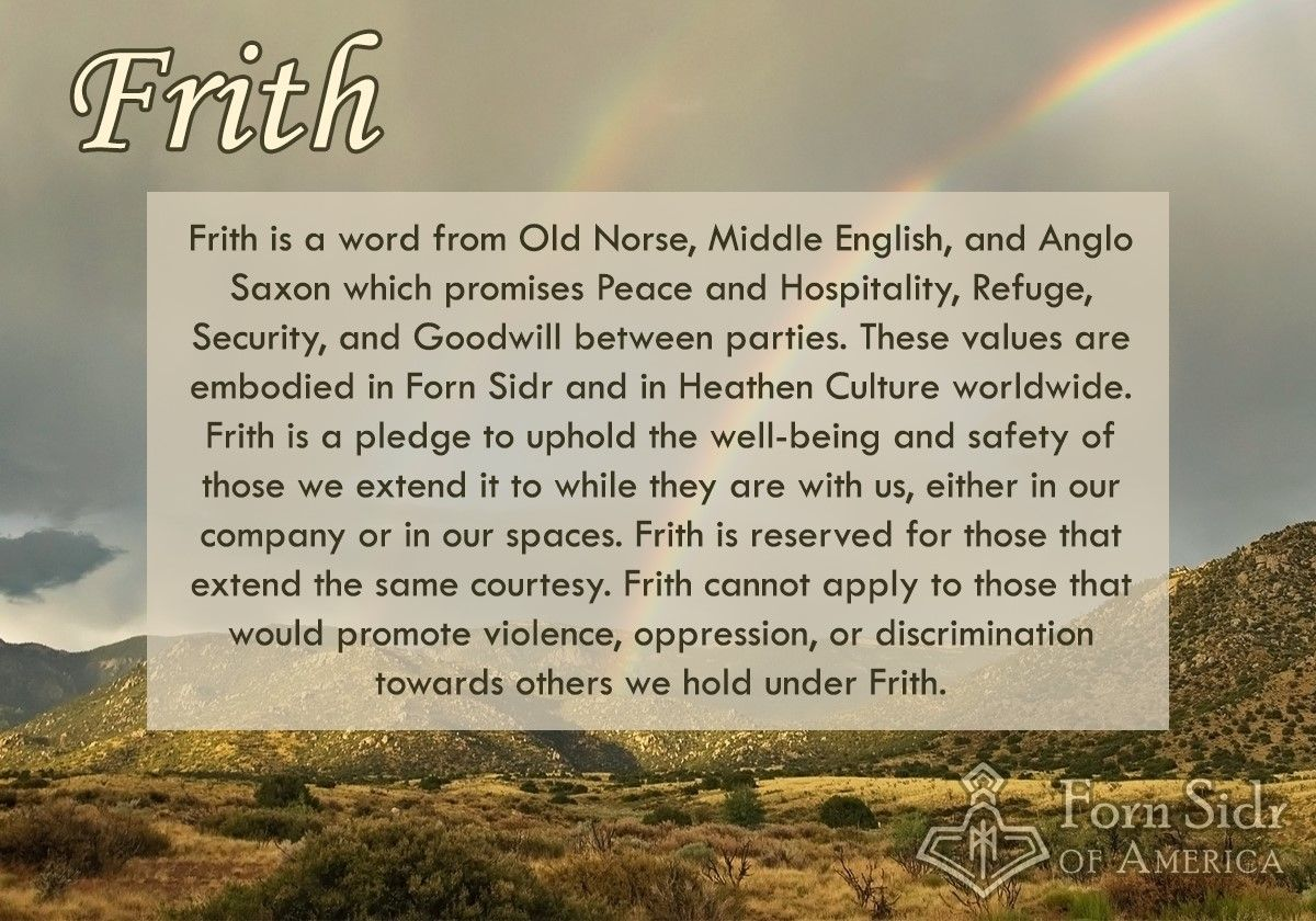 Frith Is The Third Tenet Of Forn Sidr Of America