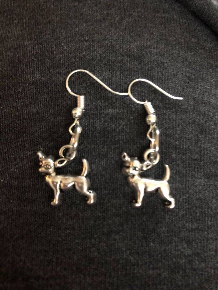 Chihuahua earrings, dog mom, rescue mom gift, rescue dog, chi, chis, chihuahua dog, dog lovers, animal jewelry, ready to ship