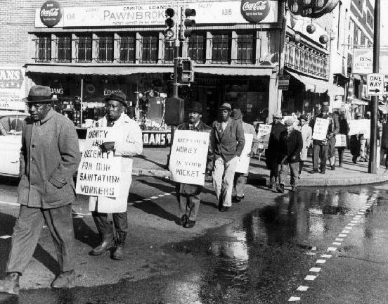 Striking Sanitation Workers Picketing On Beale Street Memphis Tennessee 1968 Memphis Historical Historical Context