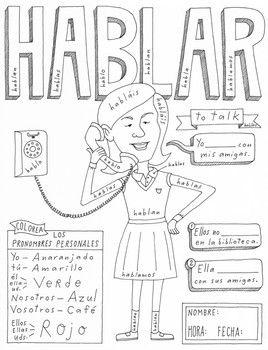 Hablar ~Color by conjugation ~Spanish verb practice ~no