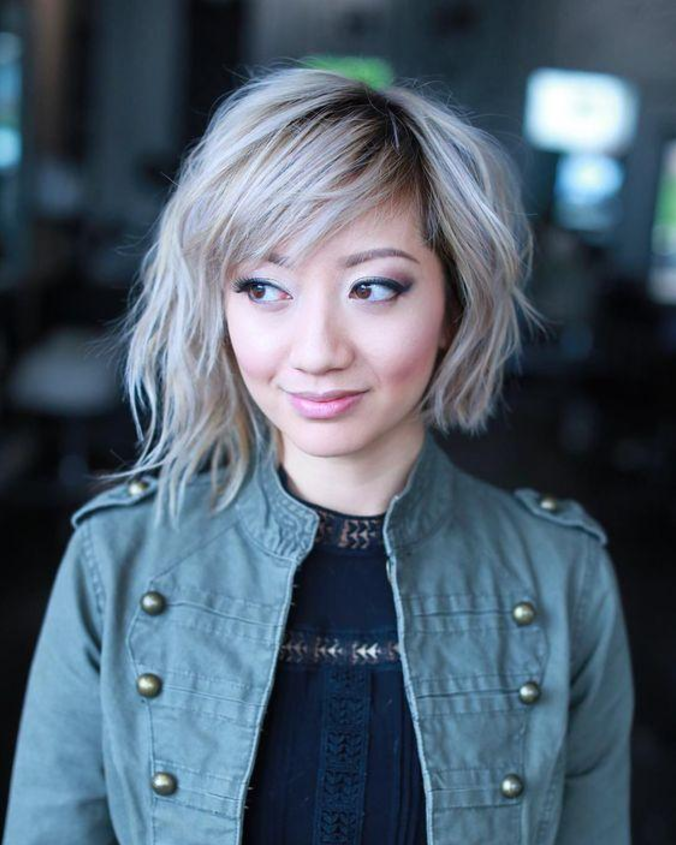 Curly Bob With Exposed Roots For A Round Face Short Asian