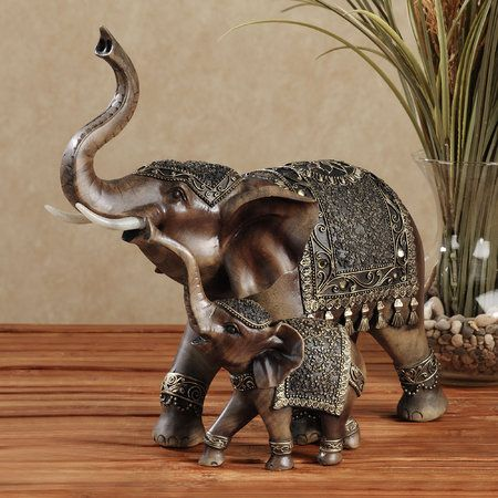 Mosaic Mirror Indian Buddha Elephant Sculpture Statue Figure Decorative Ornament