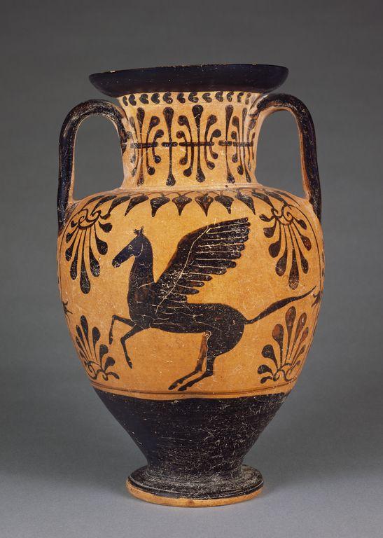 Pegasus Back Etruscan Black Figure Neck Amphora Attributed To