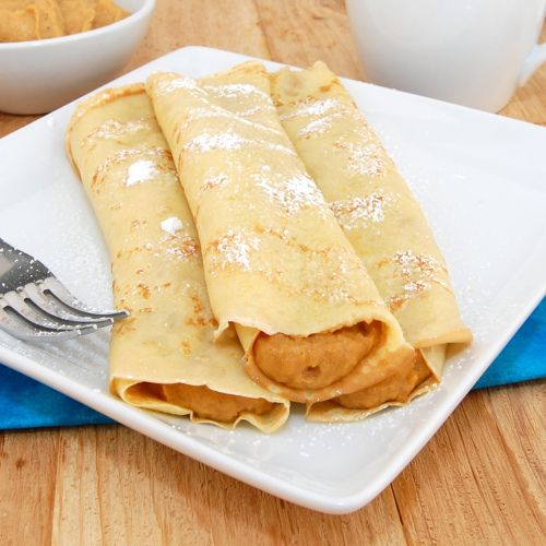Leftover pumpkin pie crepes. #Thanksgiving