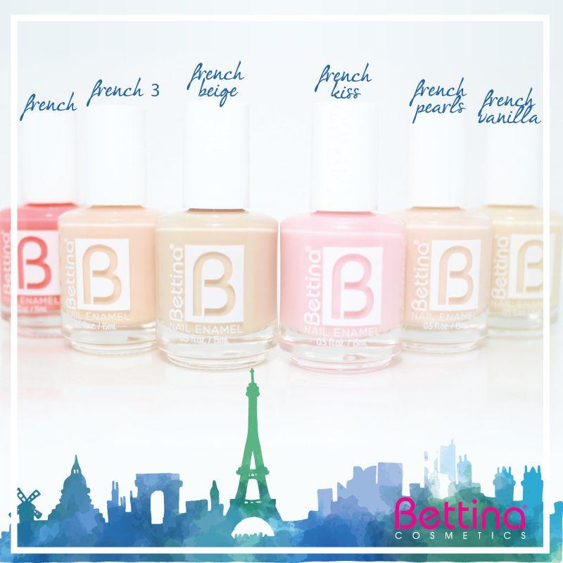 """Tenemos variedad de tonos de #Bettina #NailEnamel para tu manicura """"French"""". ¡Mira algunos aquí! #NailPolish #frenchmani"""