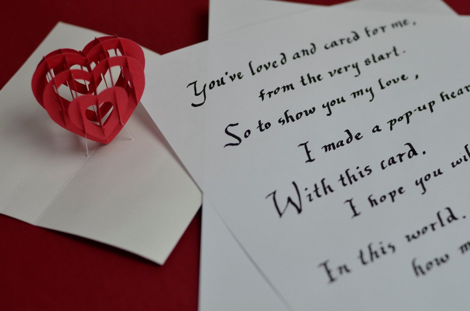 Make your own 3D Popup Heart Card including a Mother\u0027s Day poem, a ...