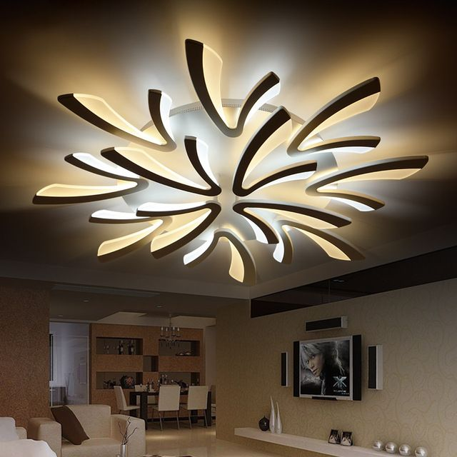 Neo Gleam Acrylic Thick Modern Led Ceiling Chandelier Lights For Living Room Bedroom Dining Ceiling Lights Living Room Ceiling Design Modern Led Ceiling Lights