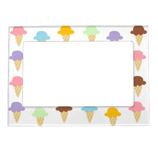 Colorful Ice Cream Cones Magnetic Photo Frame   Colorful ice cream ...