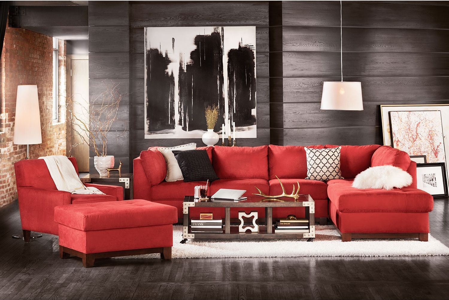 image result for unique cool living room  red couch