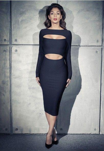 Nicole X Dresses Missguided Black long sleeve midi