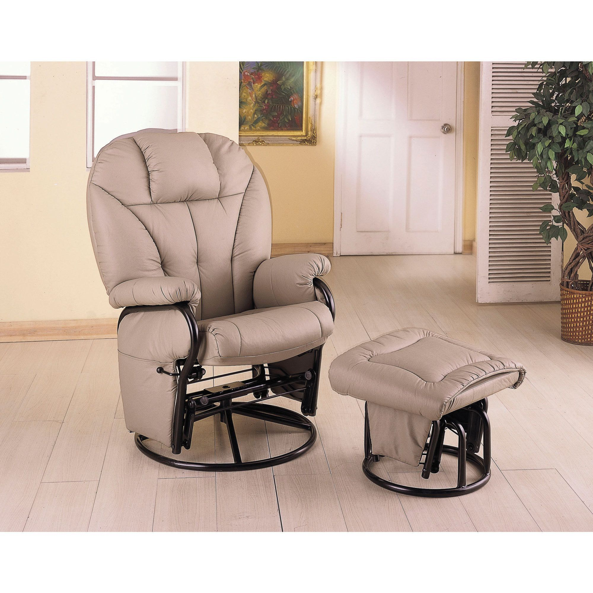 Pleasant Coaster Bone Leatherette Glider With Ottoman Products Camellatalisay Diy Chair Ideas Camellatalisaycom