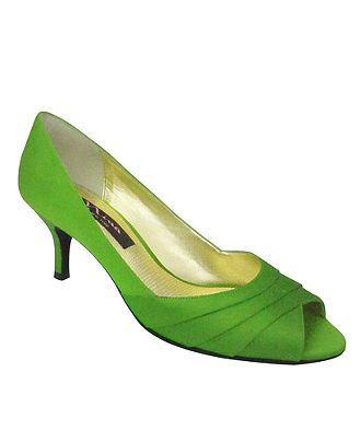 Apple Green Satin Pump Add Shoe Clip Flower