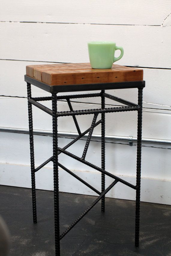 spectacular welding table design. Industrial table Small Rebar and Salvaged Wood Side Table  Home Pinterest
