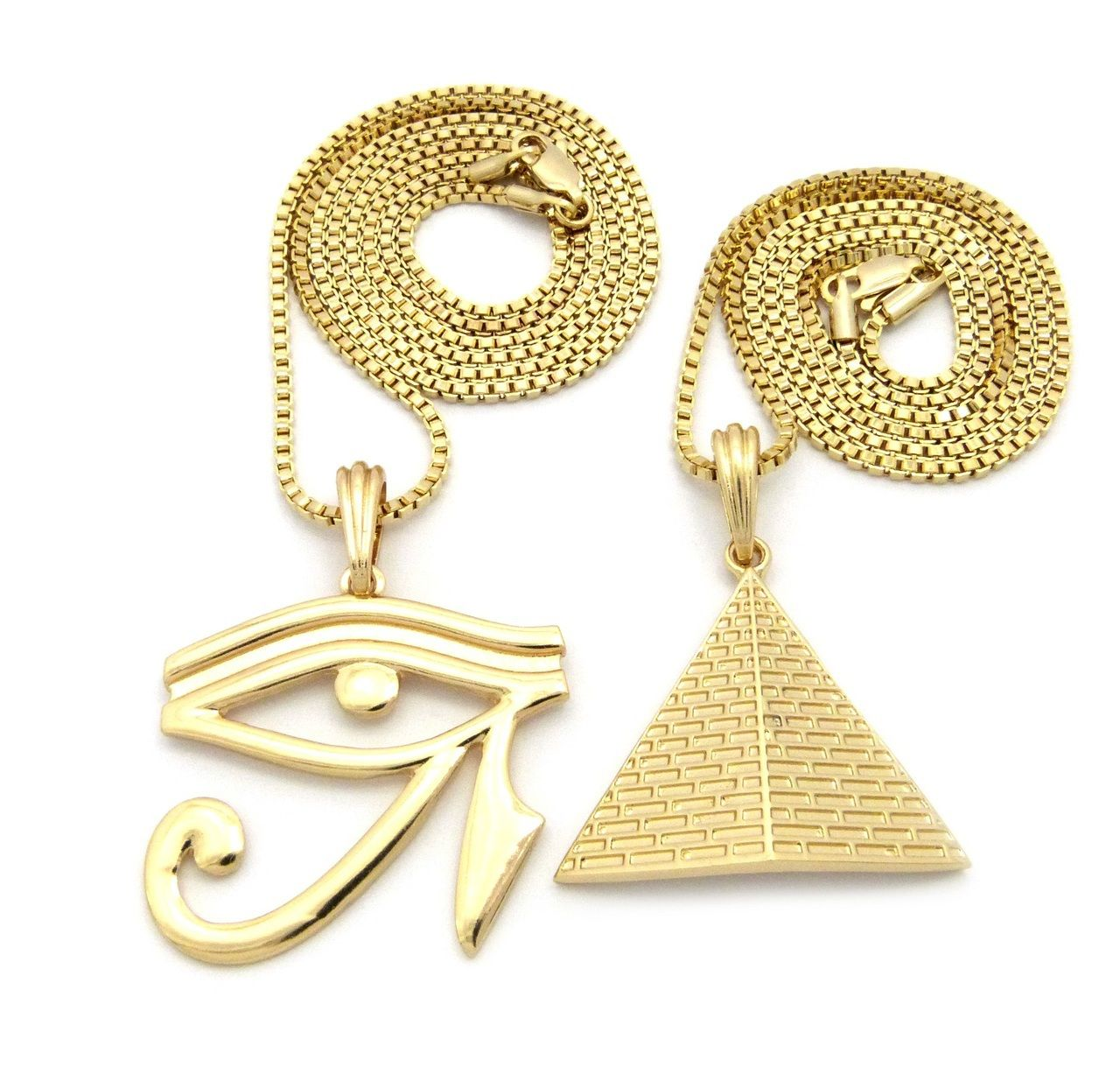 Pyramid Of Giza Eye Of Horus Egyptian Pendant Chain Necklace Set Gold - Bling Jewelz