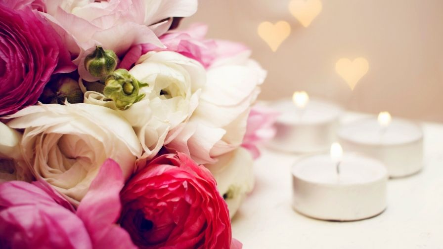 Beautiful Flowers Candles Heart Hd Wallpapers Download