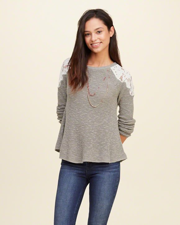 Lace Panel Sweater-hollister | fashion | Pinterest | Hollister ...