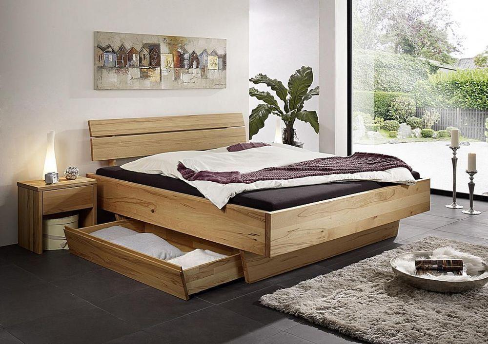 Doppelbett Bett mit schubladen 180x200 Funktionsbett Kernbuche - schlafzimmer kernbuche massiv