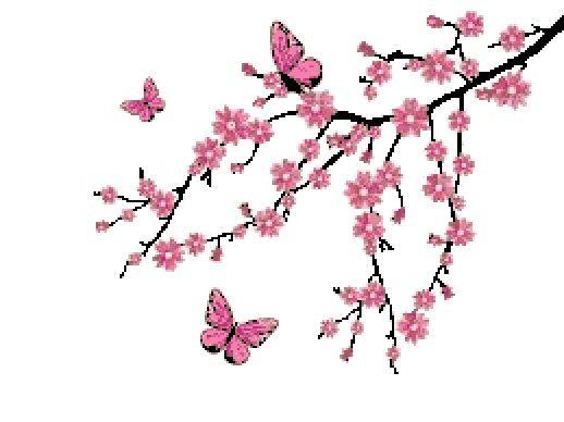 Cross Stitch Pattern Cherry Blossom Tree Branch And Etsy In 2021 Cross Stitch Patterns Cross Stitch Flowers Cross Stitch