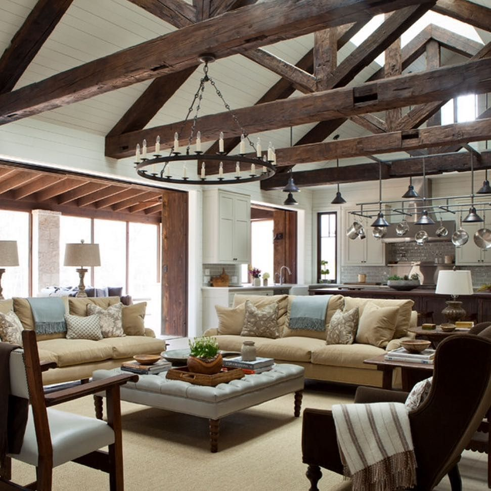 Rustic Open Concept #kitchen #livingroom
