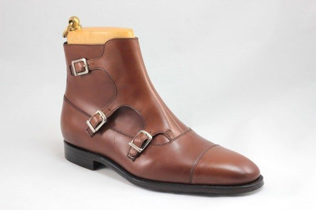 3a69e8200bb Handmade Monk Style Leather Boot, Men triple Buckle ankle Brown Boot, Men  boot - Boots
