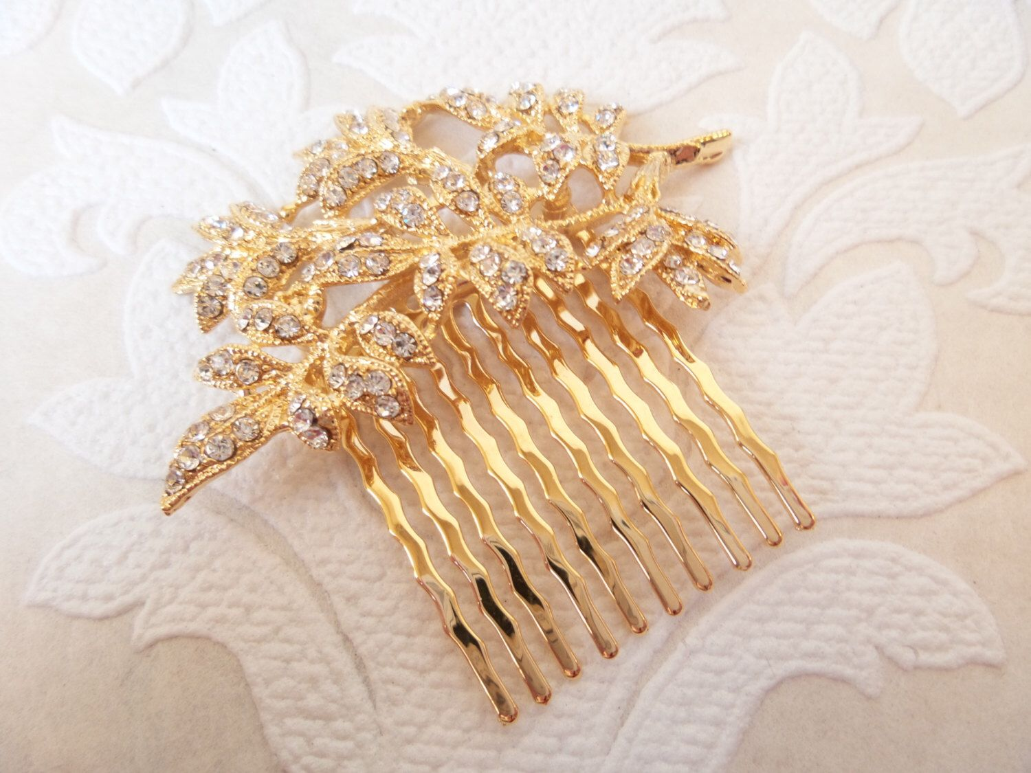 2f6e6b78b Golden Leaf Vine Wedding Hair Comb for DIY Victorian Headpiece or Art Deco  Bridal Hair Style