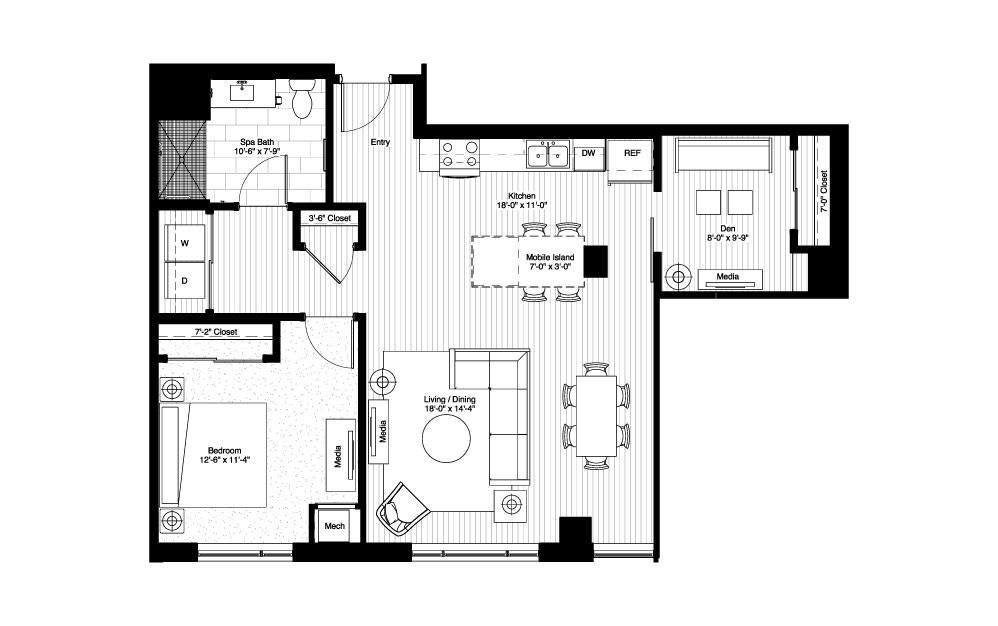 Langdon House plan with loft, 2 bedroom apartment, Floor