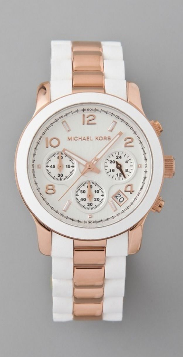 05fd57270abce Michael Kors Watch MK5464 Runway Rose Gold and White Chrono Silicone on  Steel
