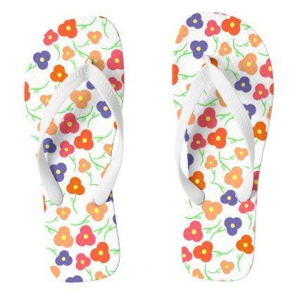 424f2b33fa93a Multicolored Flowers Pattern Flip Flops - pattern sample design template  diy cyo customize