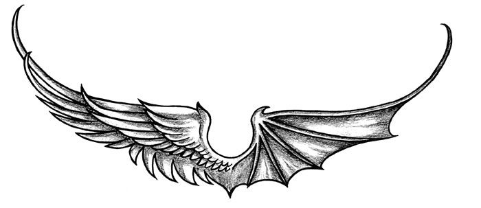 angel devil wings tattoo 4 tattoo design of angel skin art rh pinterest com Good and Evil Wing Tattoos angel and devil wings back tattoo