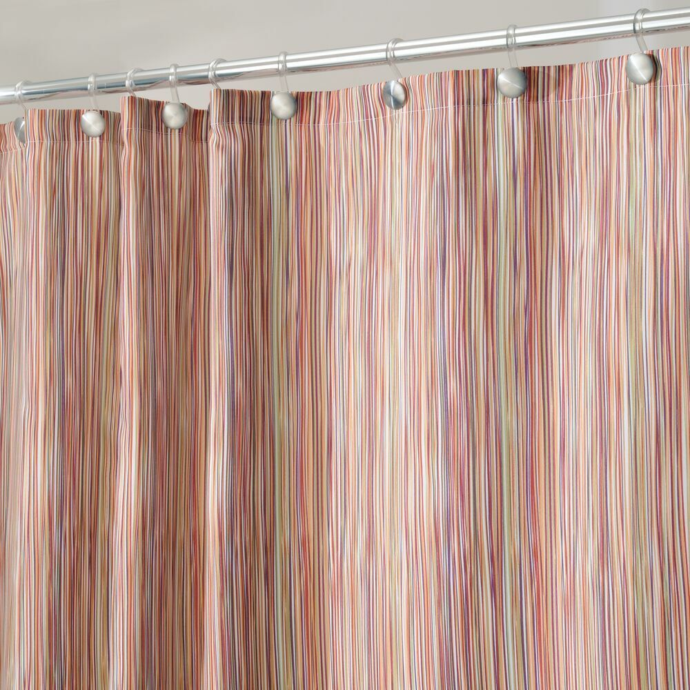 mDesign Easy Care Fabric Shower Curtain with Reinforced Buttonholes, for Bathroom Showers, Stalls and Bathtubs, Machine Washable - Decorative Vintage Prints - 72