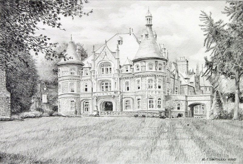 Pencil drawing of main building nicholas santoleri