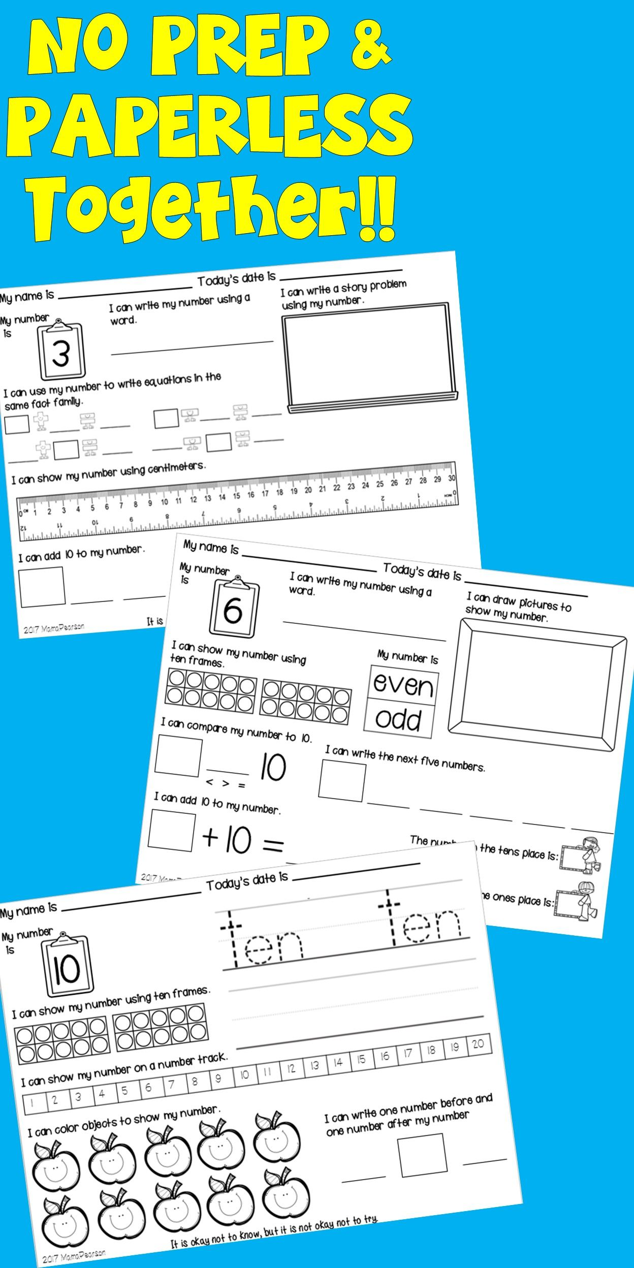 207 Pages Of Paperless And No Prep Printable Sheets To Help Your Students With Numeracy They Will Love These 1st Grade Math Math Math For Kids [ 2496 x 1248 Pixel ]
