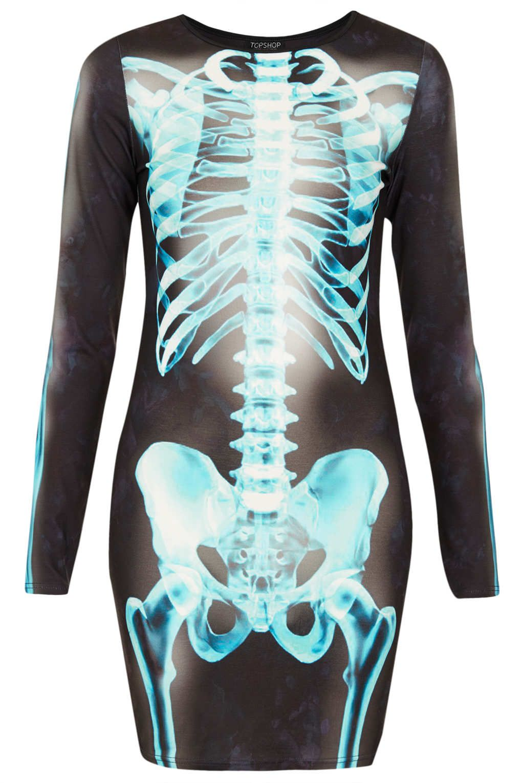 Halloween special u black skeleton print bodycon dress skeletons