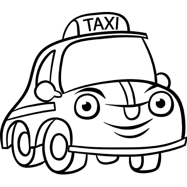 Mewarnai Gambar Mobil Taksi Gambar Warna Mobil