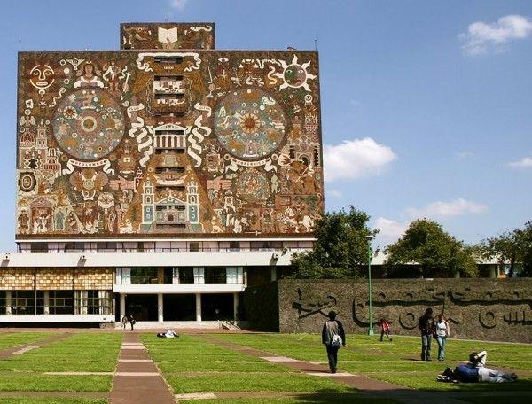 Juan O'Gorman, UNAM, biblioteca centrale, Mexico