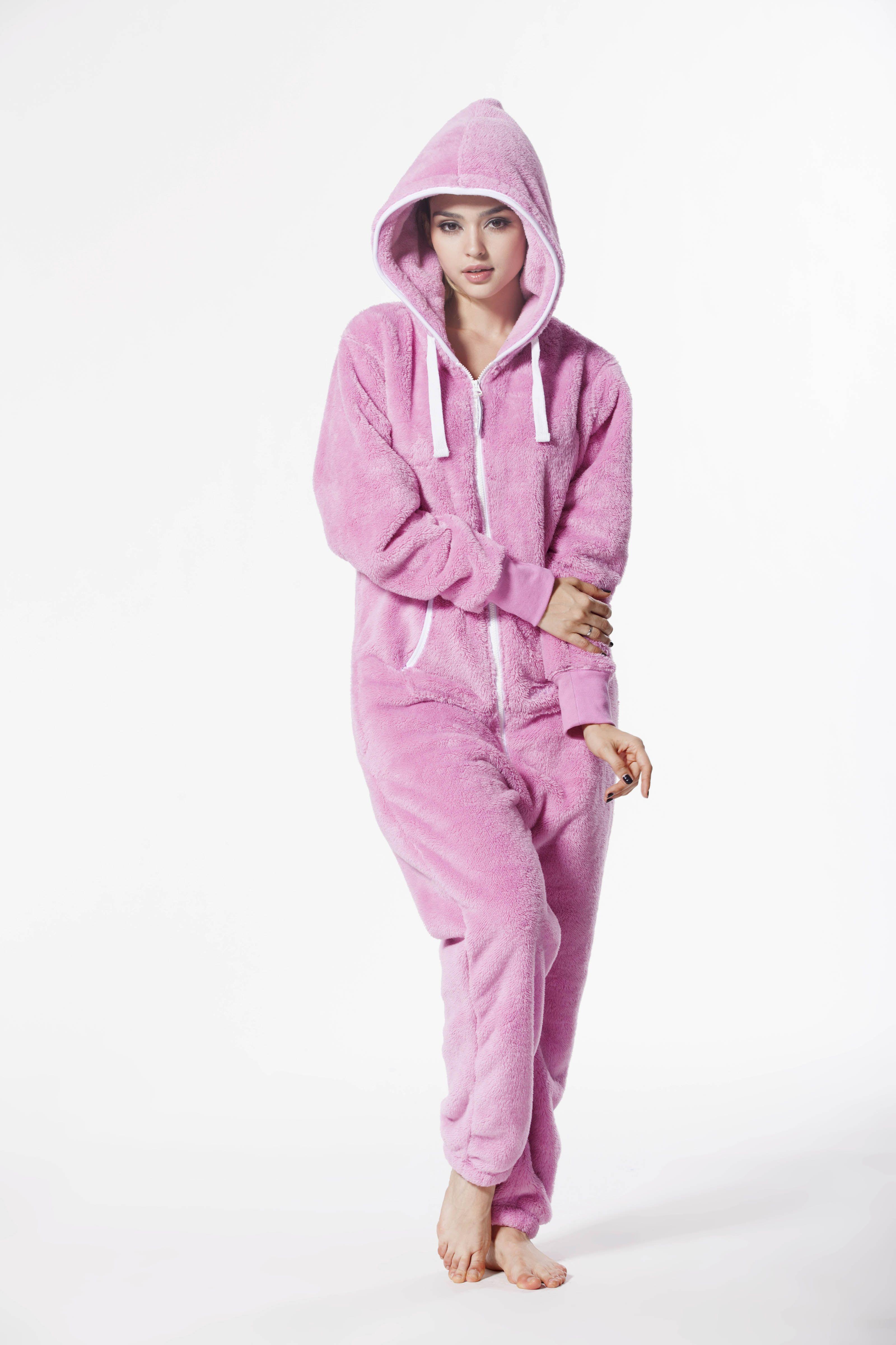 126f3068a3 Pink Teddy Fleece Onesie jump in romper